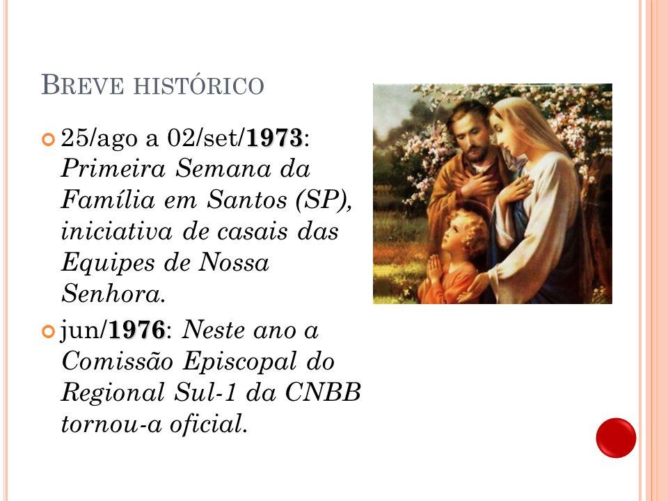 Breve histórico 25/ago a 02/set/1973: Primeira Semana da Família em Santos (SP), iniciativa de casais das Equipes de Nossa Senhora.