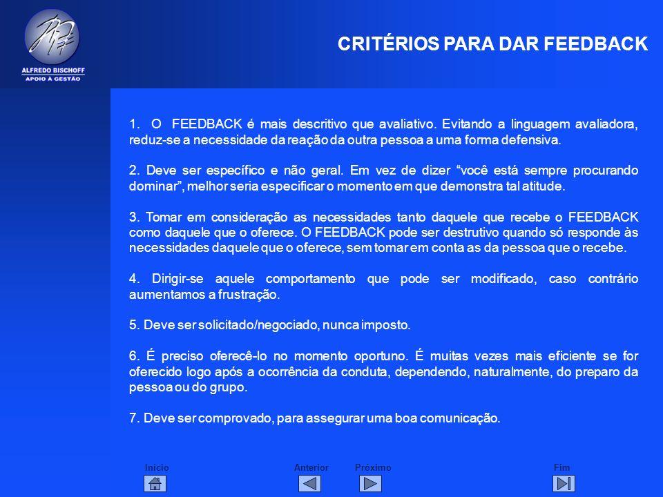 CRITÉRIOS PARA DAR FEEDBACK