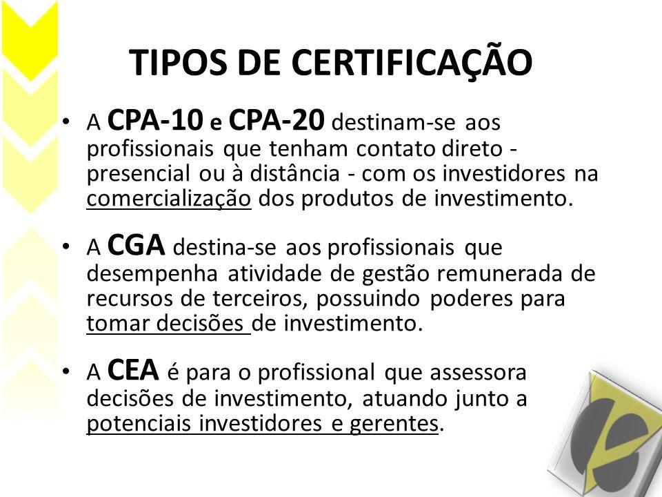 TIPOS DE CERTIFICAÇÃO