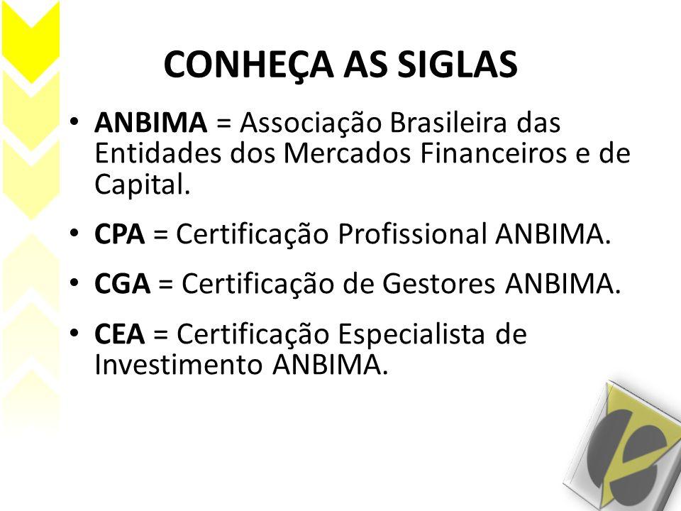 CONHEÇA AS SIGLAS ANBIMA = Associação Brasileira das Entidades dos Mercados Financeiros e de Capital.