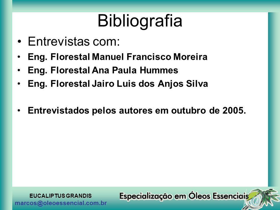 Bibliografia Entrevistas com: Eng. Florestal Manuel Francisco Moreira