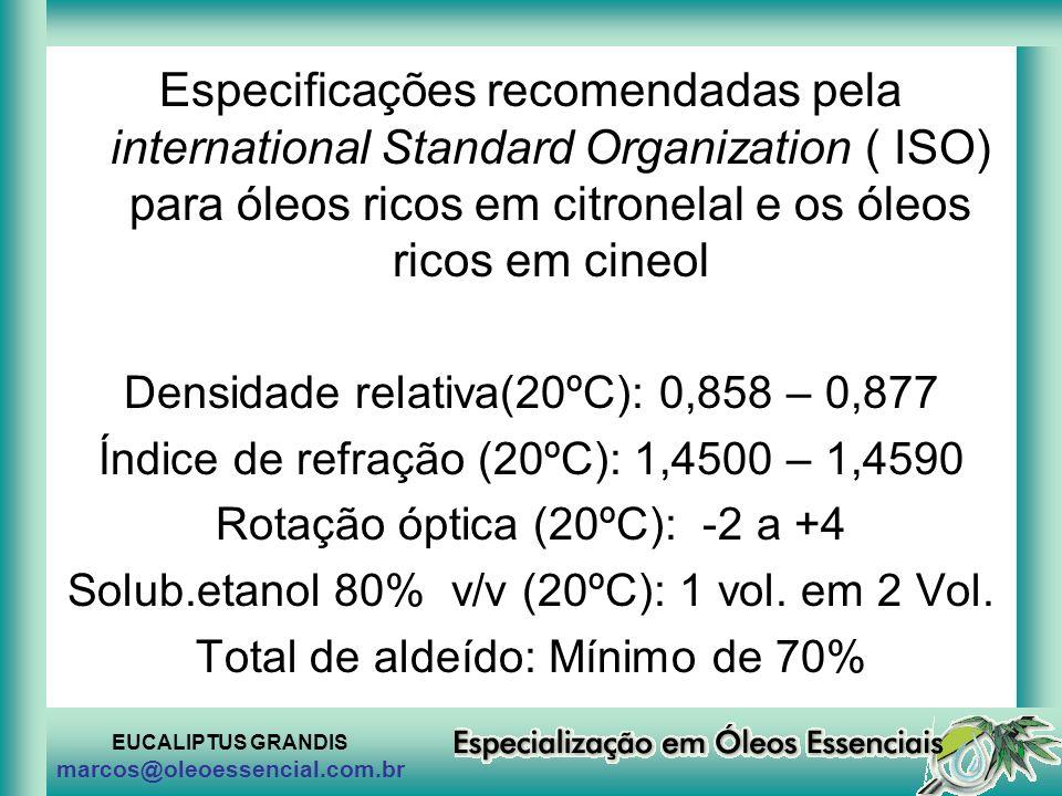 Especificações recomendadas pela international Standard Organization ( ISO) para óleos ricos em citronelal e os óleos ricos em cineol