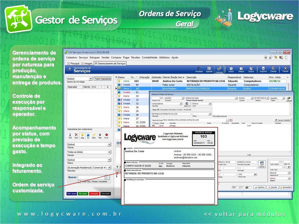 Gestor de Serviços Ordens de Serviço Geral www.logycware.com.br
