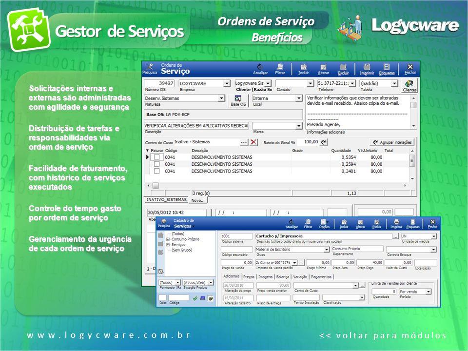 Gestor de Serviços Ordens de Serviço Benefícios www.logycware.com.br