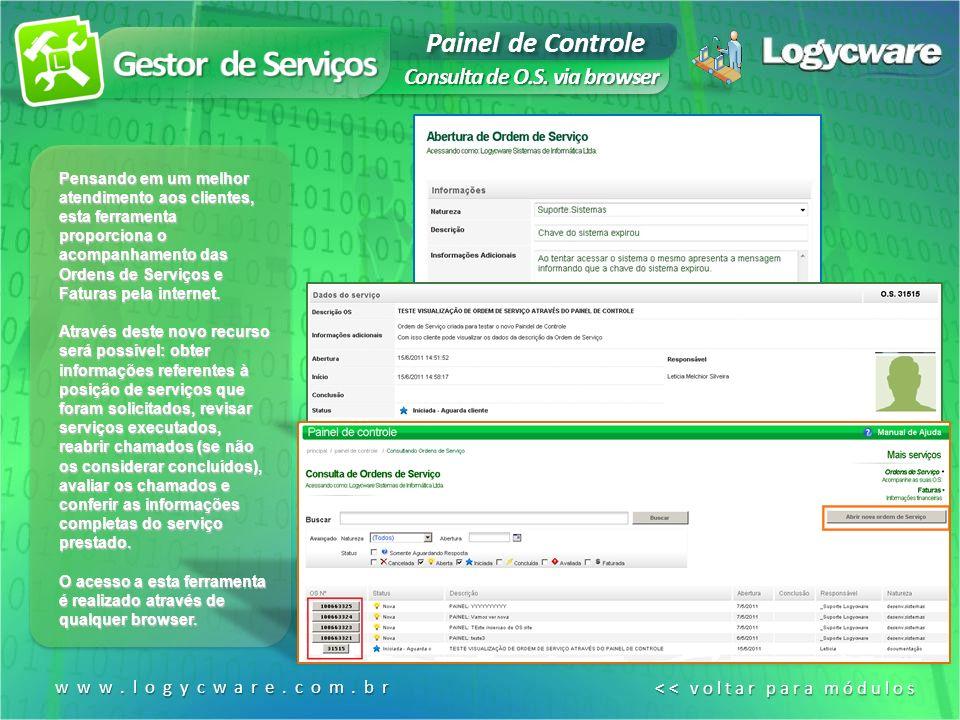 Gestor de Serviços Painel de Controle Consulta de O.S. via browser