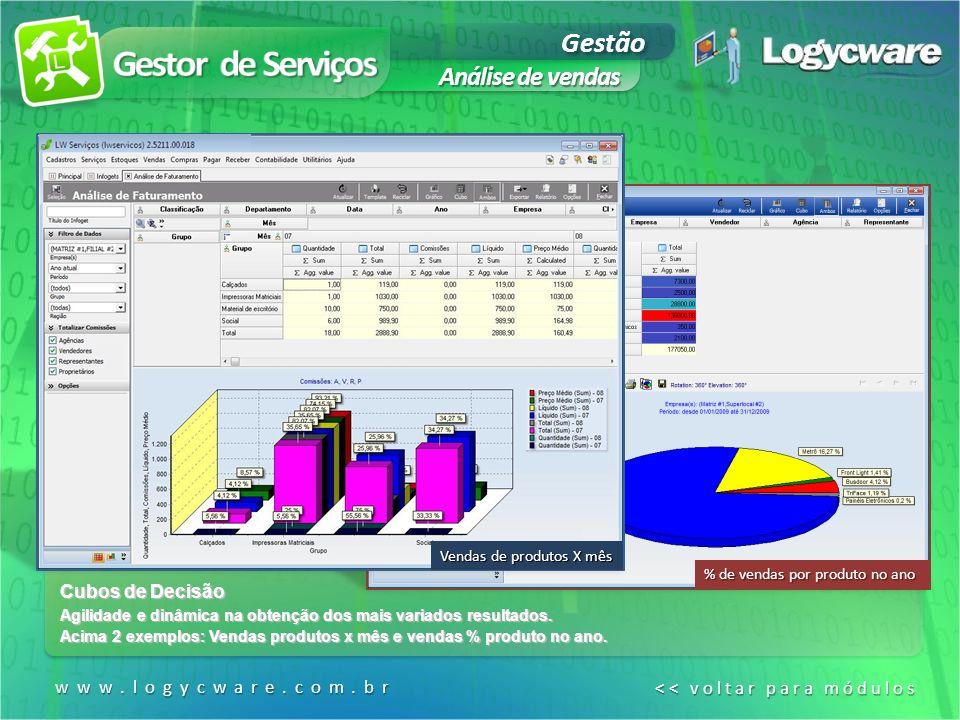 Gestor de Serviços Gestão Análise de vendas Cubos de Decisão