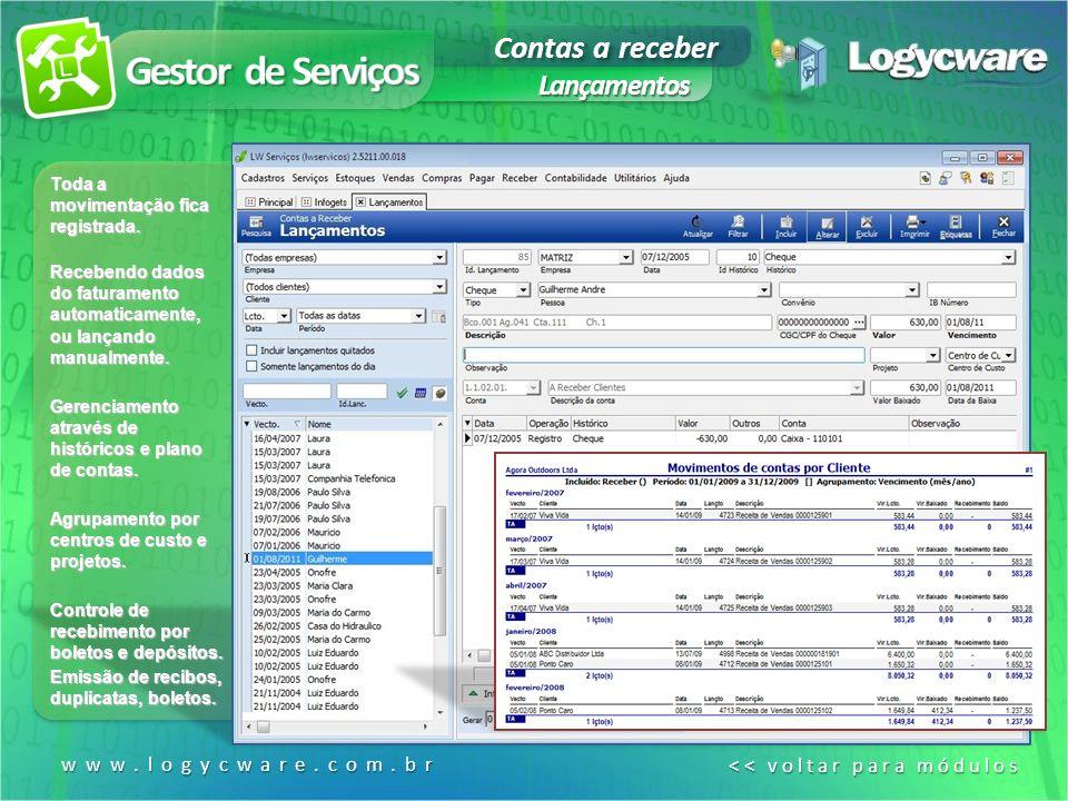 Gestor de Serviços Contas a receber Lançamentos www.logycware.com.br