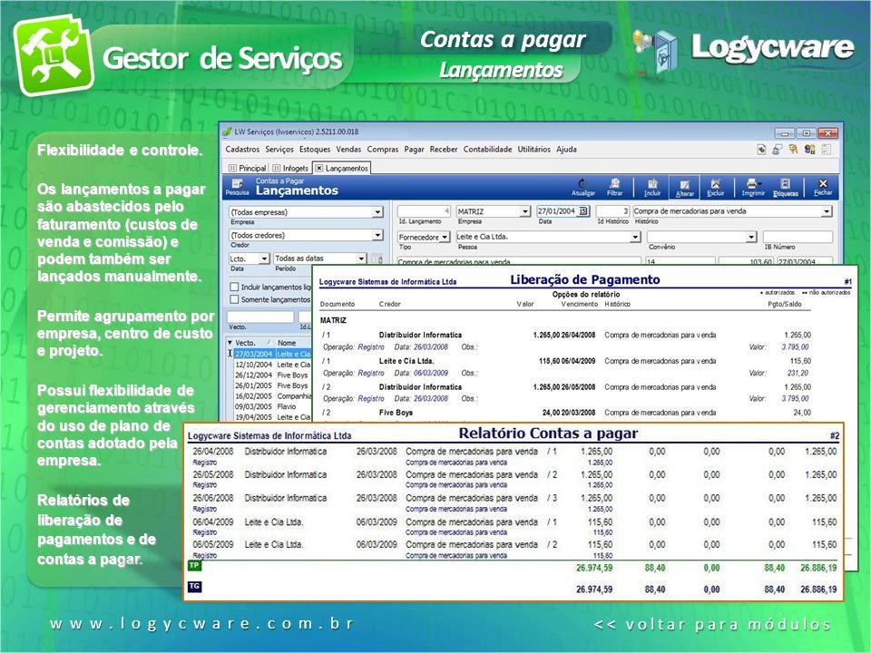 Gestor de Serviços Contas a pagar Lançamentos www.logycware.com.br