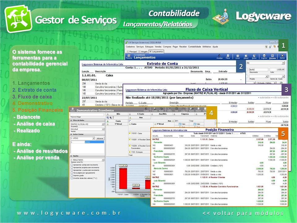 Gestor de Serviços Contabilidade Lançamentos/Relatórios 1 2 3 4 5