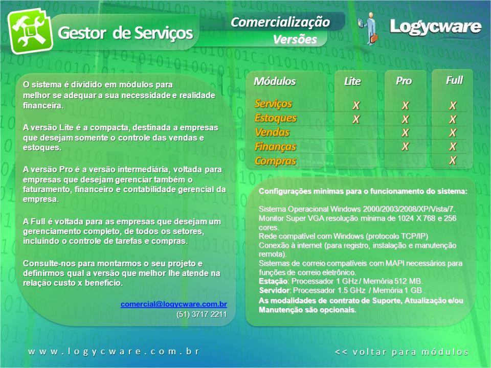 Gestor de Serviços Comercialização Versões Módulos Lite Pro Full