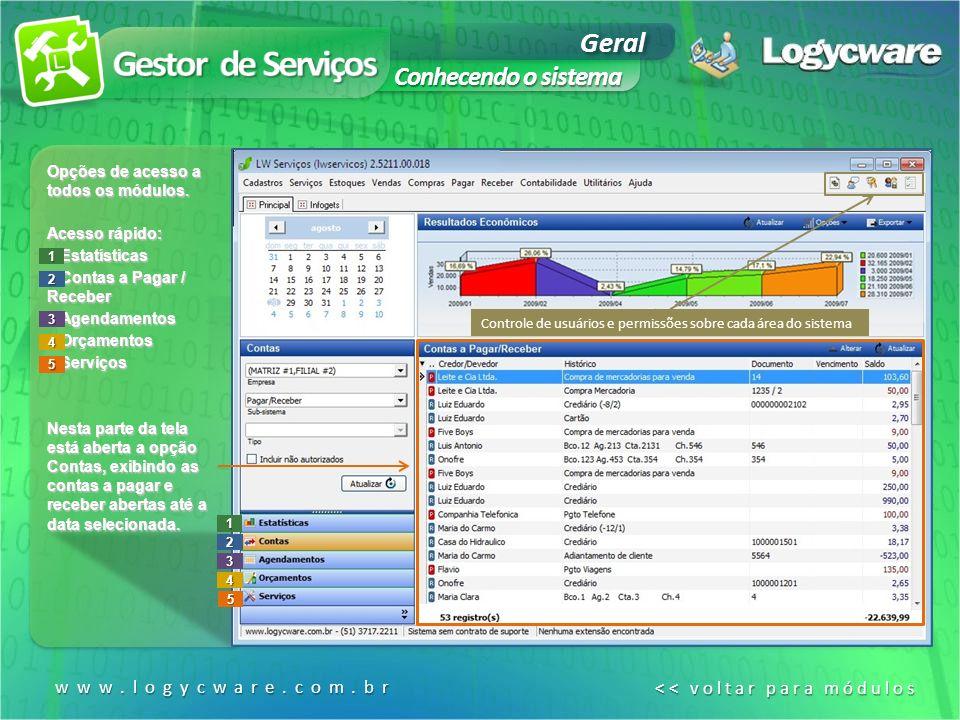 Gestor de Serviços Geral Conhecendo o sistema www.logycware.com.br