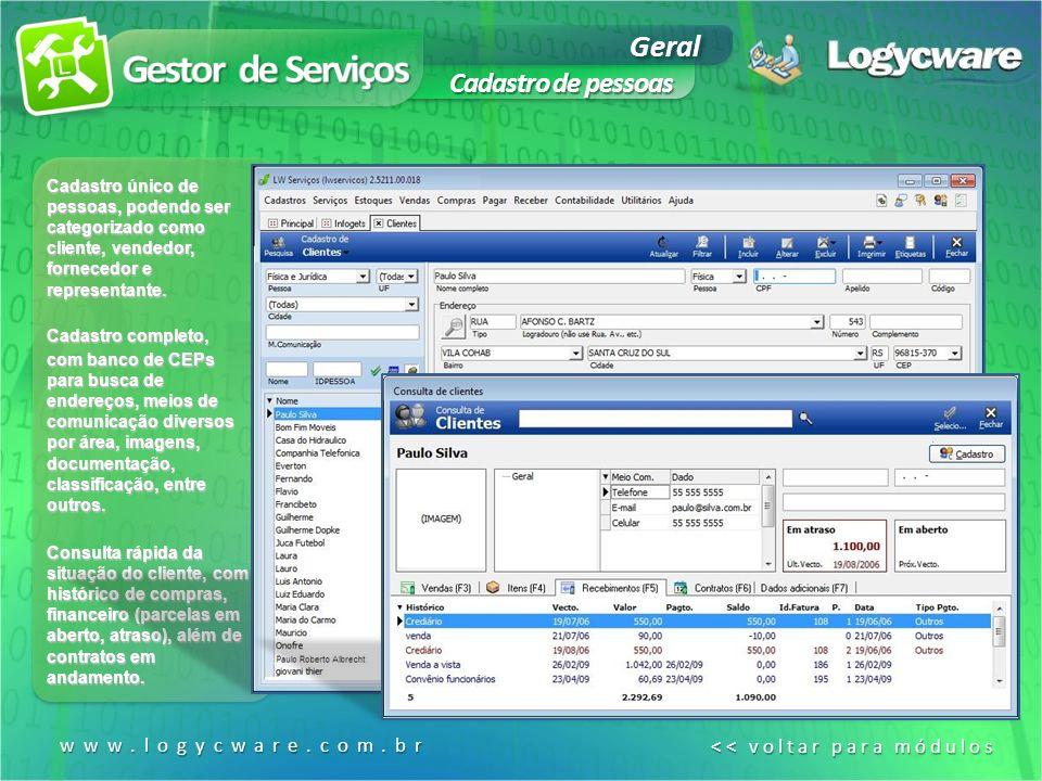 Gestor de Serviços Geral Cadastro de pessoas www.logycware.com.br