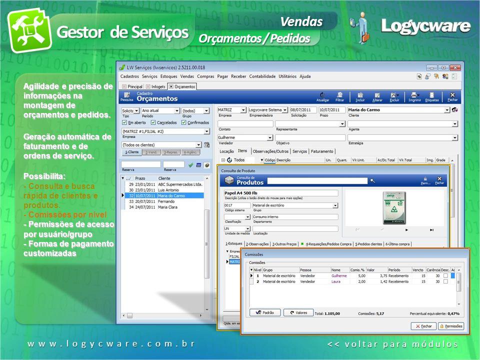 Gestor de Serviços Vendas Orçamentos / Pedidos www.logycware.com.br