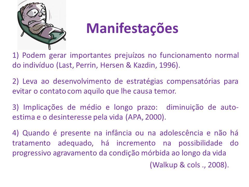 Manifestações 1) Podem gerar importantes prejuízos no funcionamento normal do indivíduo (Last, Perrin, Hersen & Kazdin, 1996).