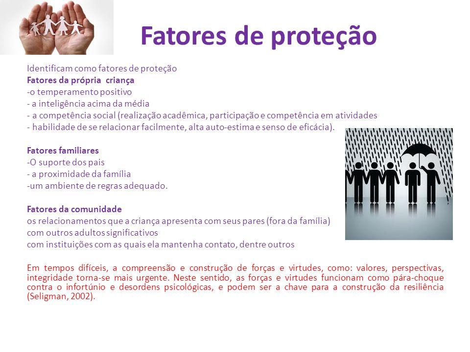 Fatores de proteção Identificam como fatores de proteção