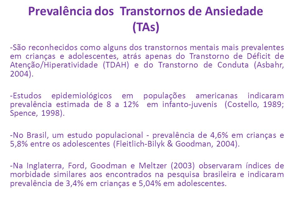 Prevalência dos Transtornos de Ansiedade (TAs)