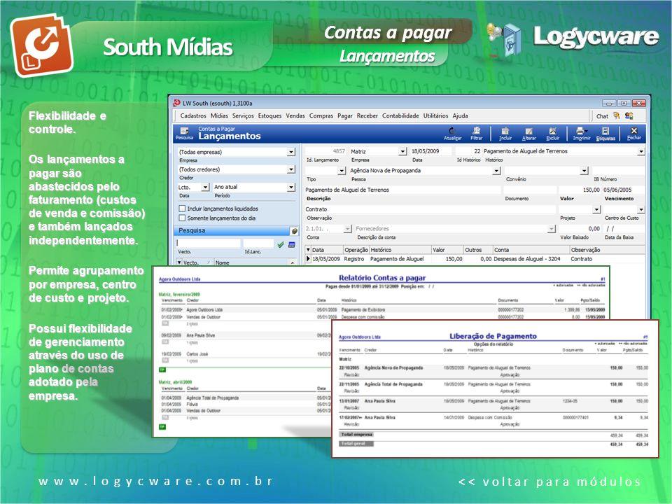 South Mídias Contas a pagar Lançamentos www.logycware.com.br