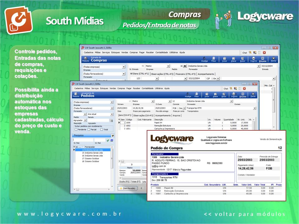 South Mídias Compras Pedidos/Entrada de notas www.logycware.com.br