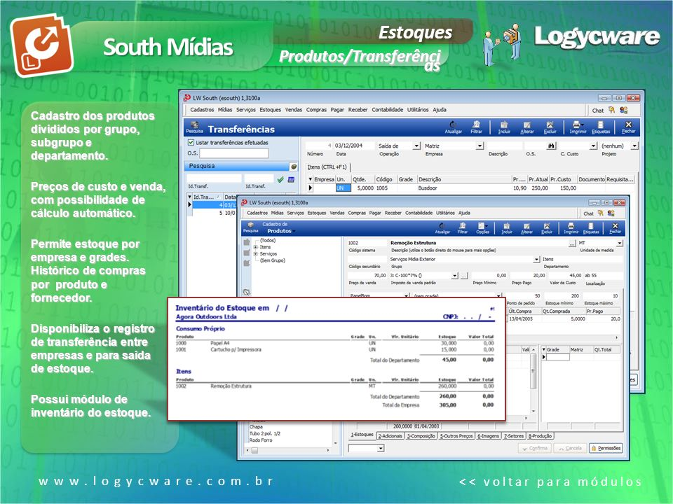 South Mídias Estoques Produtos/Transferênci as www.logycware.com.br