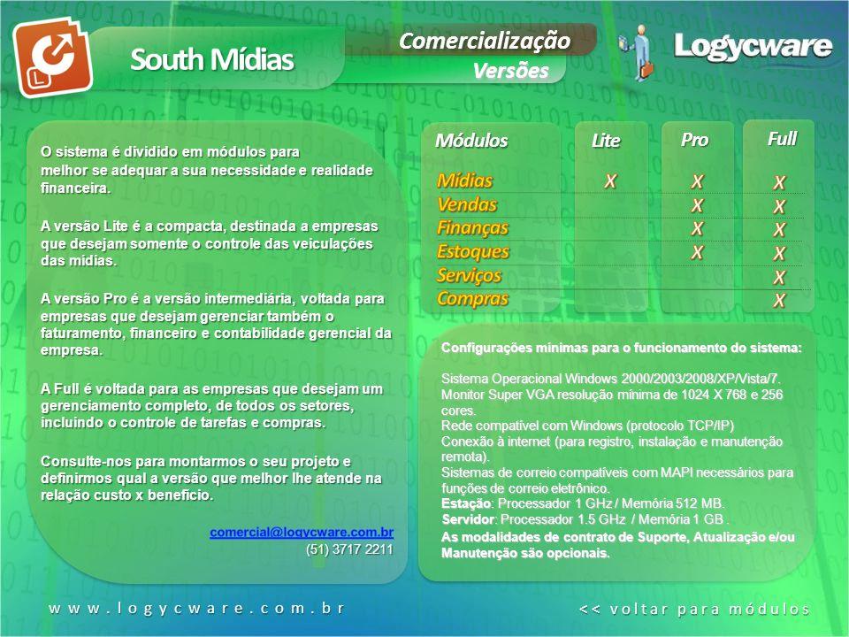 South Mídias Comercialização Versões Módulos Lite Pro Full Mídias
