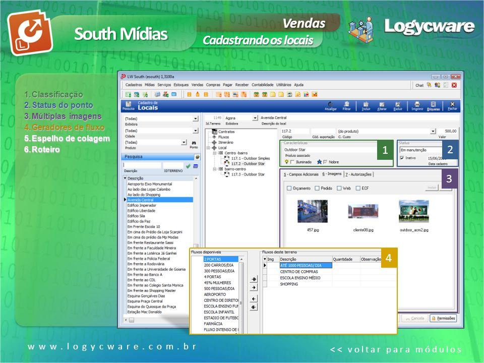 South Mídias Vendas Cadastrando os locais 1 2 3 4 www.logycware.com.br