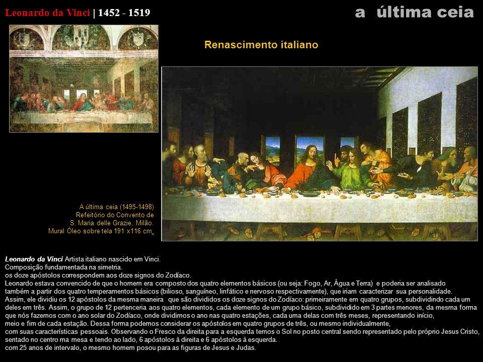 a última ceia Leonardo da Vinci | 1452 - 1519 Renascimento italiano