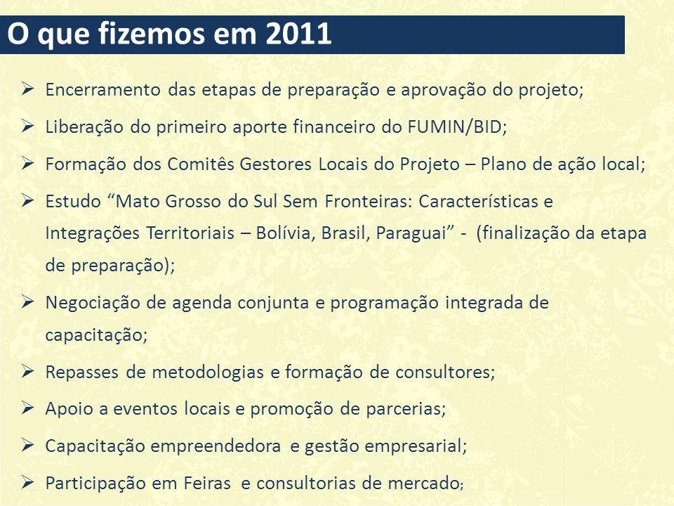 O que fizemos em 2011 Encerramento das etapas de preparação e aprovação do projeto; Liberação do primeiro aporte financeiro do FUMIN/BID;