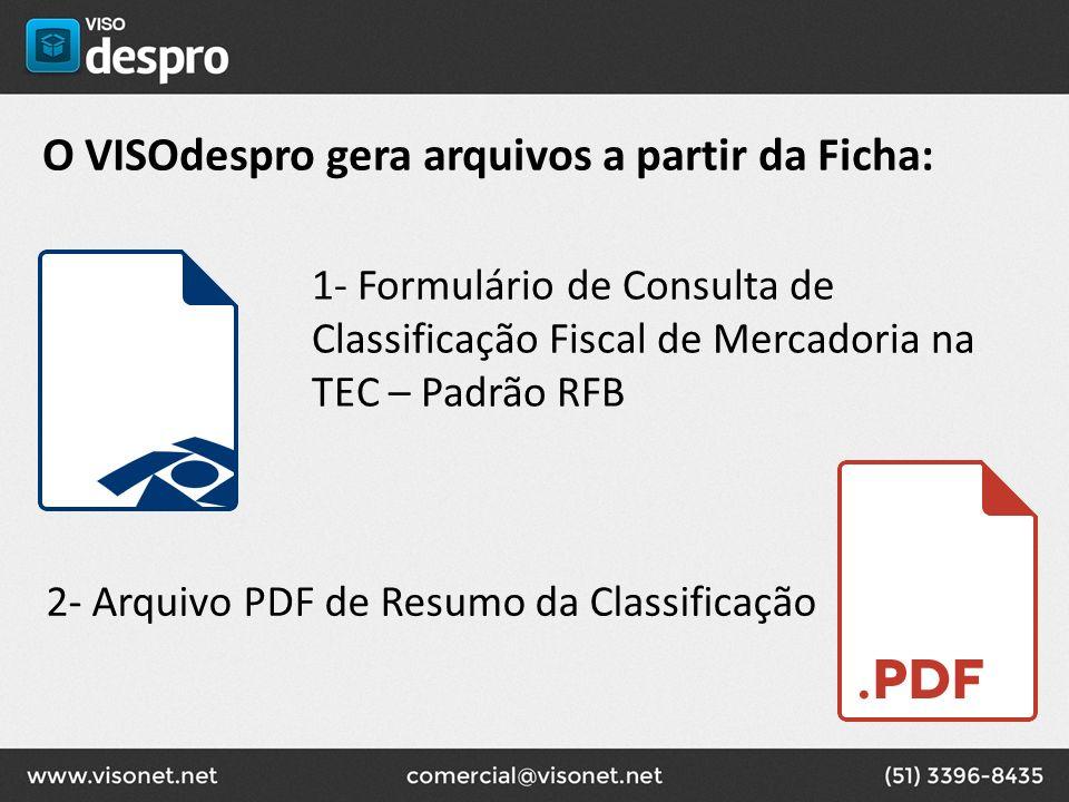 O VISOdespro gera arquivos a partir da Ficha: