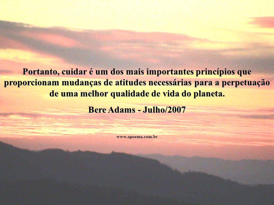 Portanto, cuidar é um dos mais importantes princípios que proporcionam mudanças de atitudes necessárias para a perpetuação de uma melhor qualidade de vida do planeta.