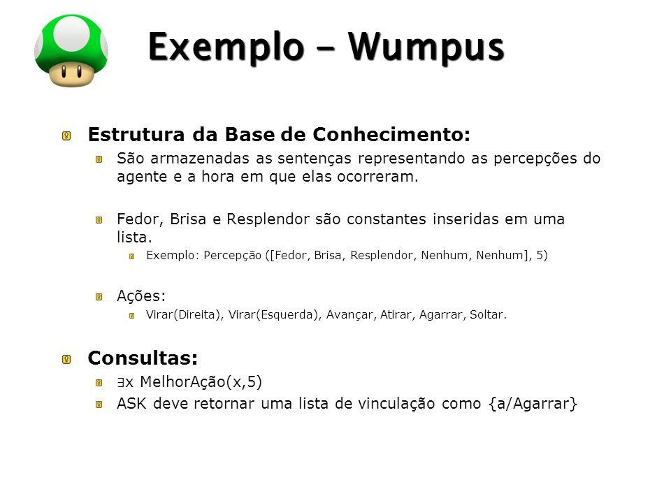 Exemplo - Wumpus Estrutura da Base de Conhecimento: Consultas: