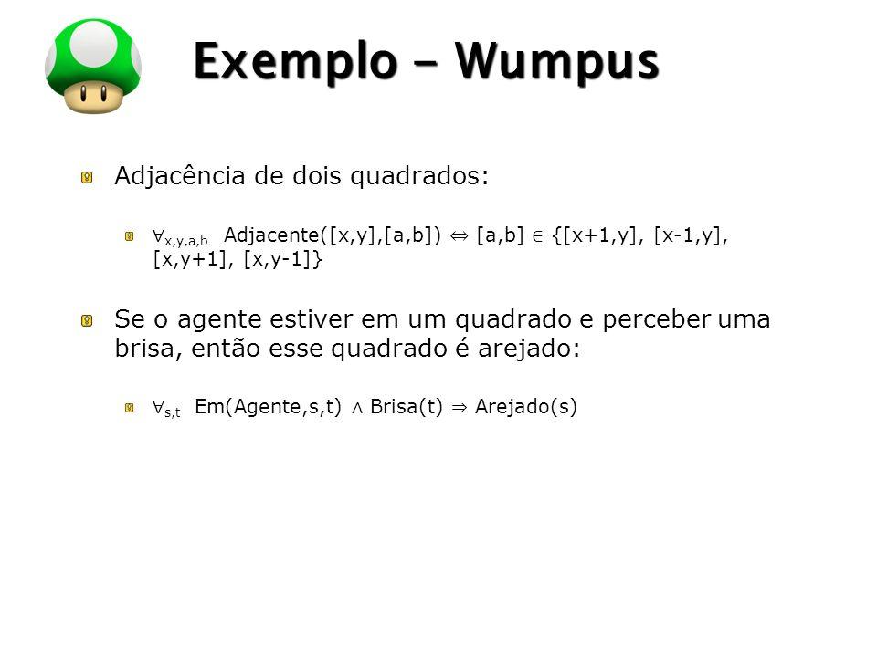 Exemplo - Wumpus Adjacência de dois quadrados: