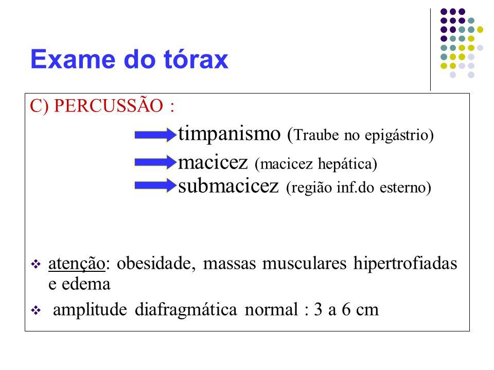 Exame do tórax C) PERCUSSÃO : timpanismo (Traube no epigástrio)