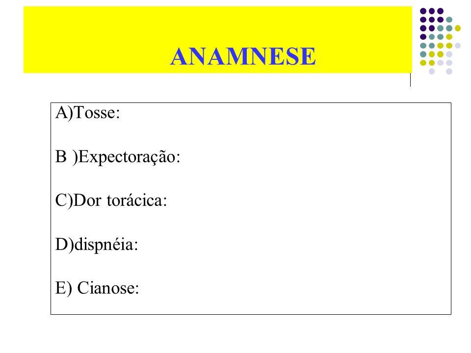 ANAMNESE A)Tosse: B )Expectoração: C)Dor torácica: D)dispnéia: