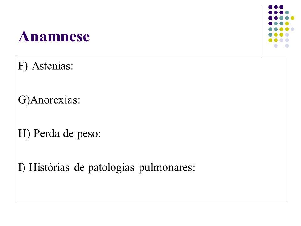 Anamnese F) Astenias: G)Anorexias: H) Perda de peso: