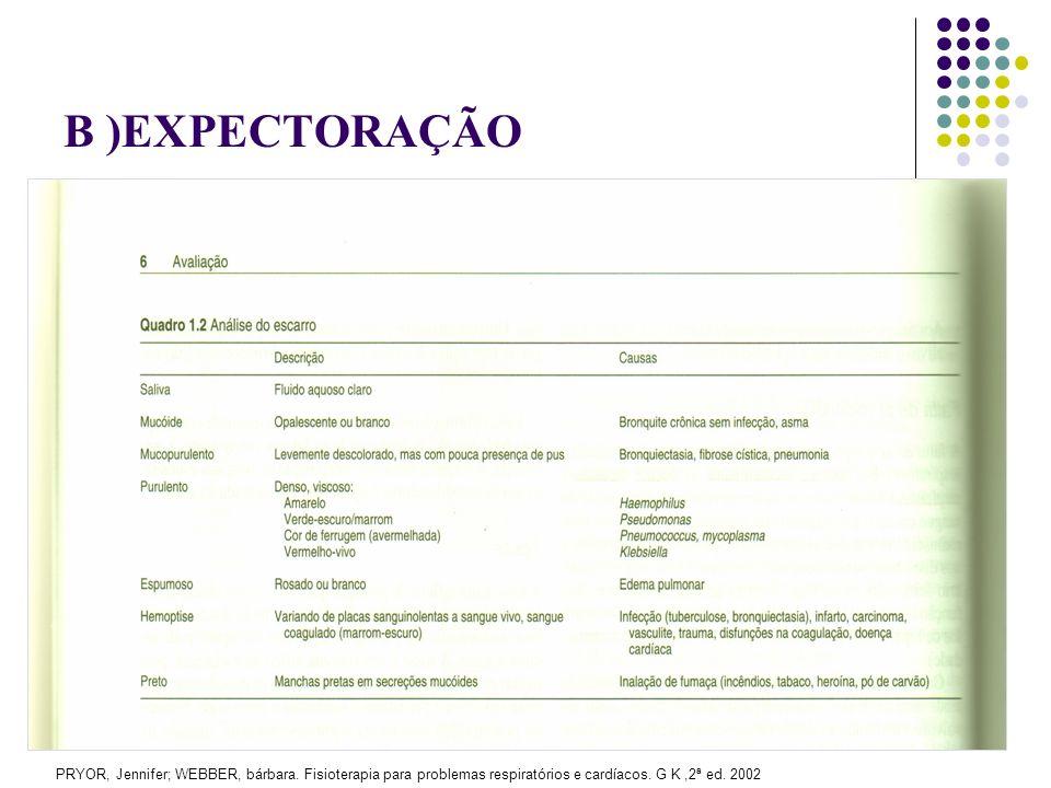 B )EXPECTORAÇÃO PRYOR, Jennifer; WEBBER, bárbara.