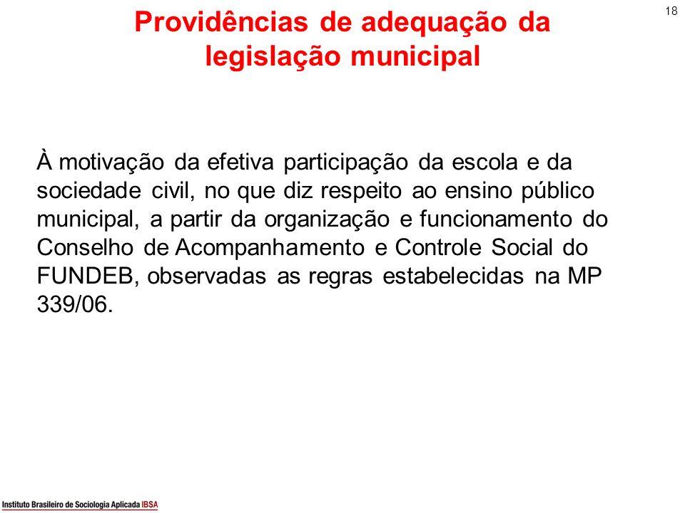 Providências de adequação da legislação municipal