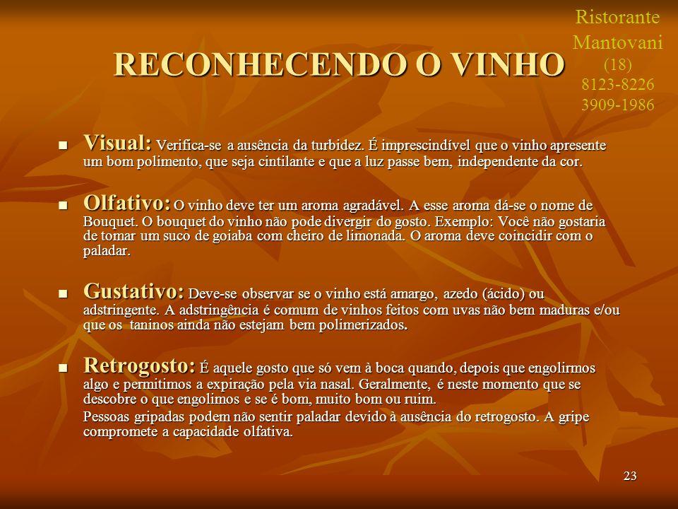 Ristorante Mantovani. (18) 8123-8226. 3909-1986. RECONHECENDO O VINHO.