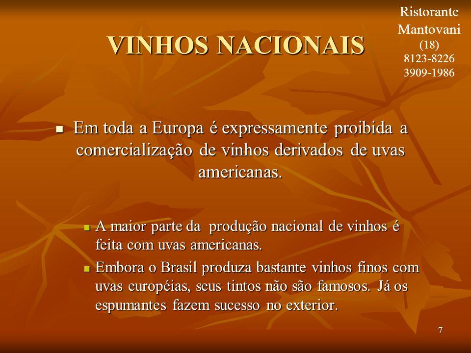 Ristorante Mantovani. (18) 8123-8226. 3909-1986. VINHOS NACIONAIS.
