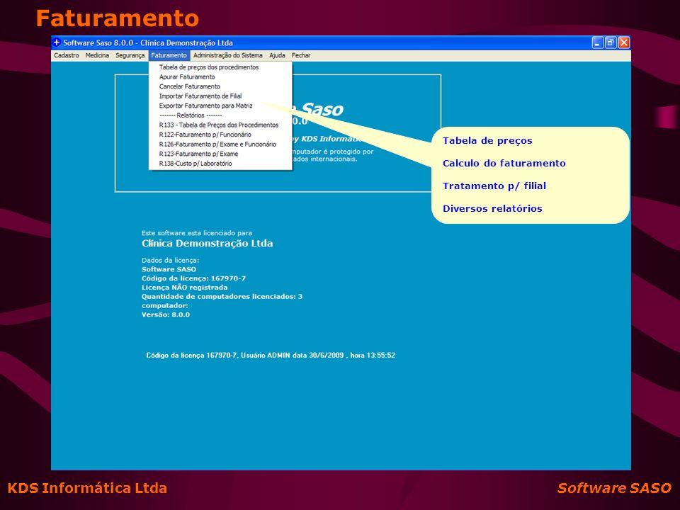 Faturamento KDS Informática Ltda Software SASO Tabela de preços