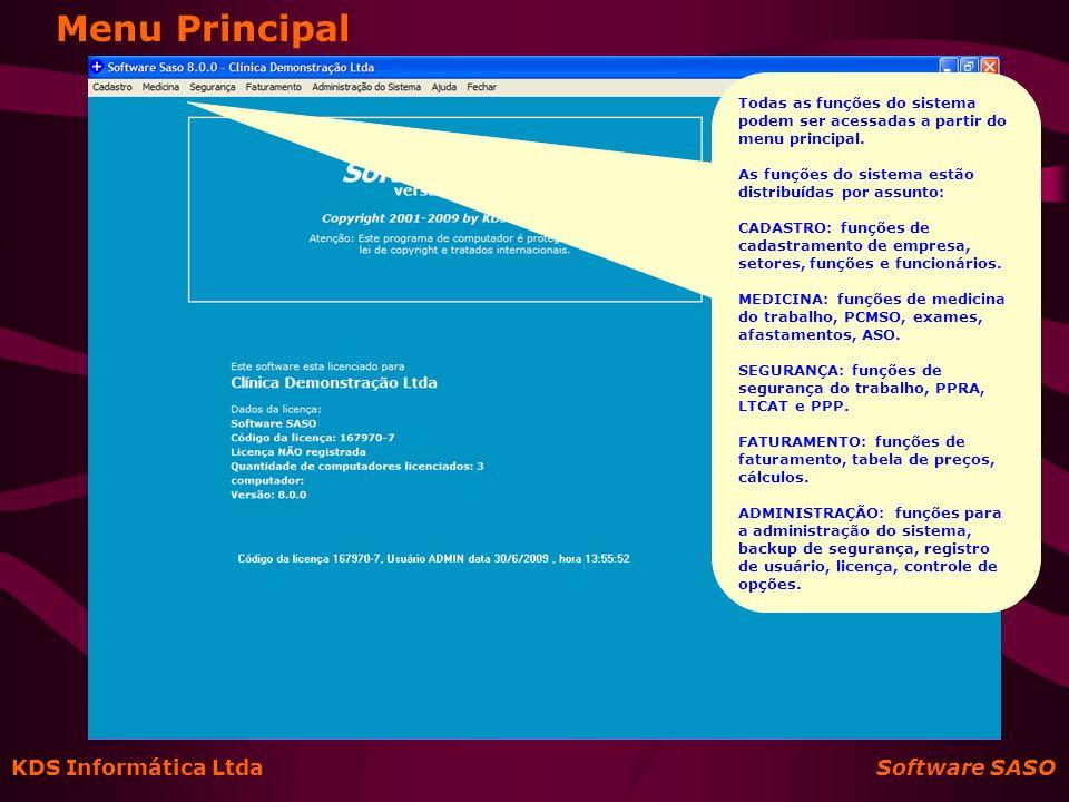 Menu Principal KDS Informática Ltda Software SASO