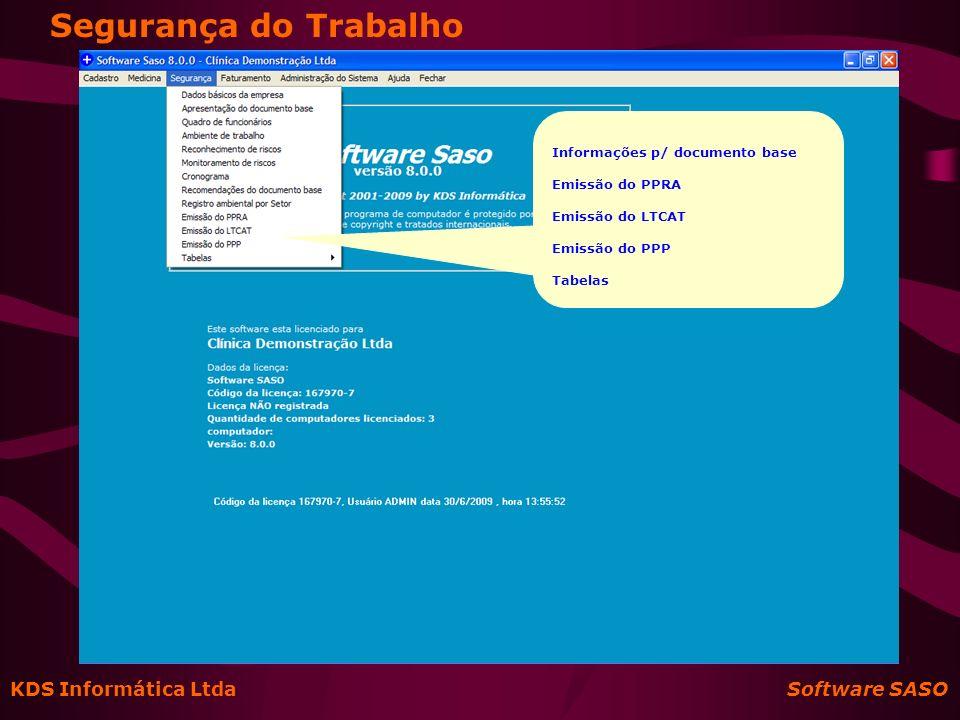 Segurança do Trabalho KDS Informática Ltda Software SASO