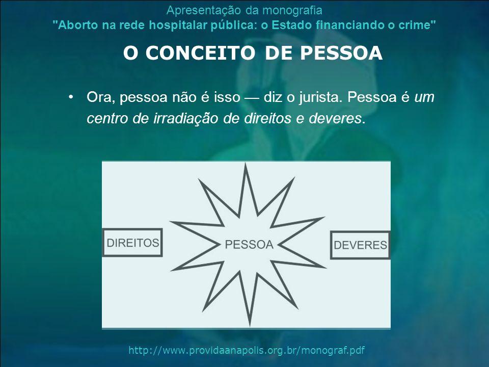 O CONCEITO DE PESSOA Ora, pessoa não é isso — diz o jurista. Pessoa é um centro de irradiação de direitos e deveres.