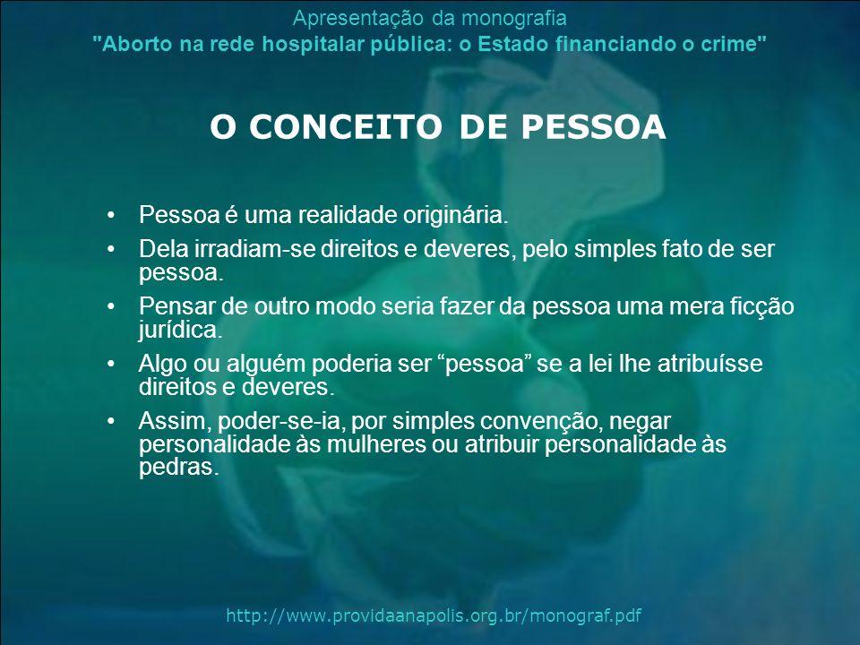 O CONCEITO DE PESSOA Pessoa é uma realidade originária.