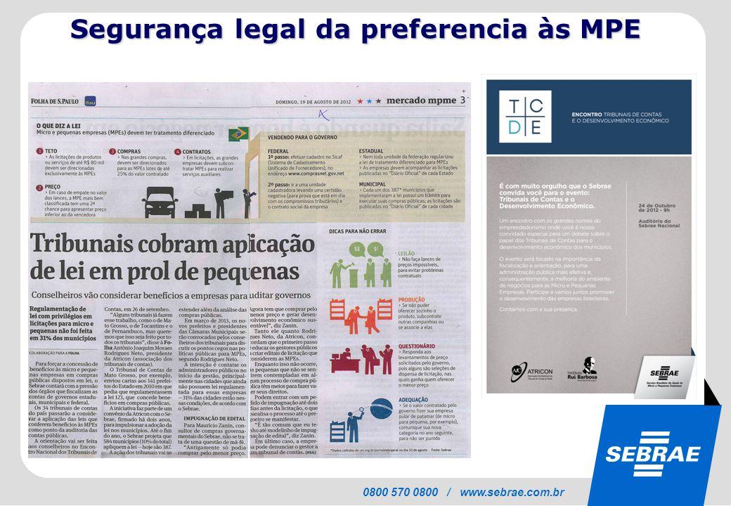 Segurança legal da preferencia às MPE