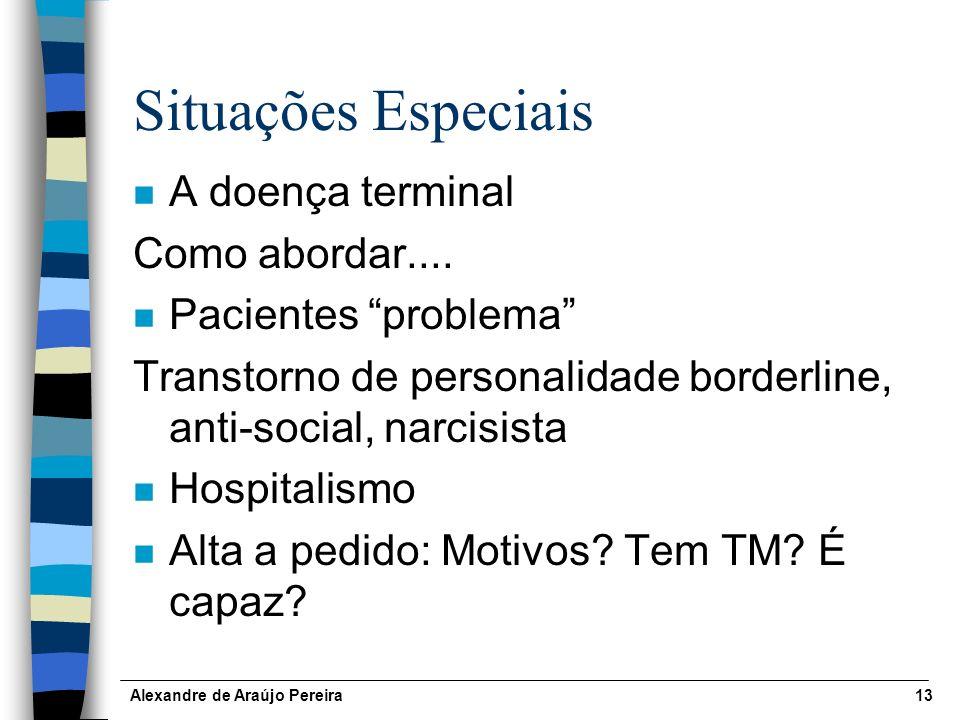 Situações Especiais A doença terminal Como abordar....