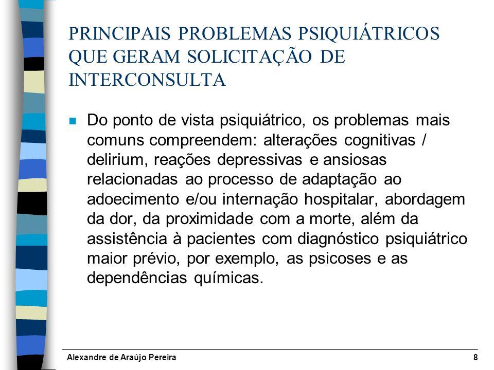 PRINCIPAIS PROBLEMAS PSIQUIÁTRICOS QUE GERAM SOLICITAÇÃO DE INTERCONSULTA
