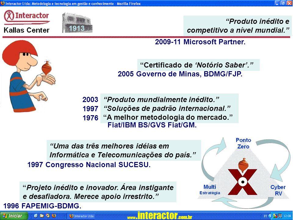 Produto inédito e competitivo a nível mundial. 2009-11 Microsoft Partner. Certificado de 'Notório Saber'.