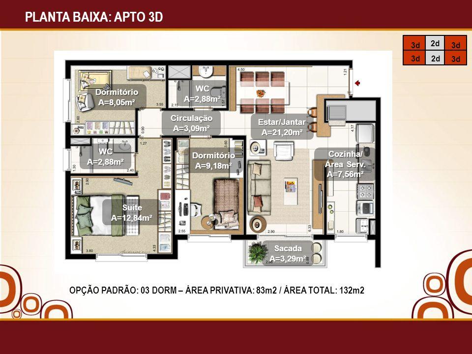 PLANTA BAIXA: APTO 3D 3d. 2d. WC. A=2,88m². Dormitório. A=8,05m². Circulação. A=3,09m². Estar/Jantar.