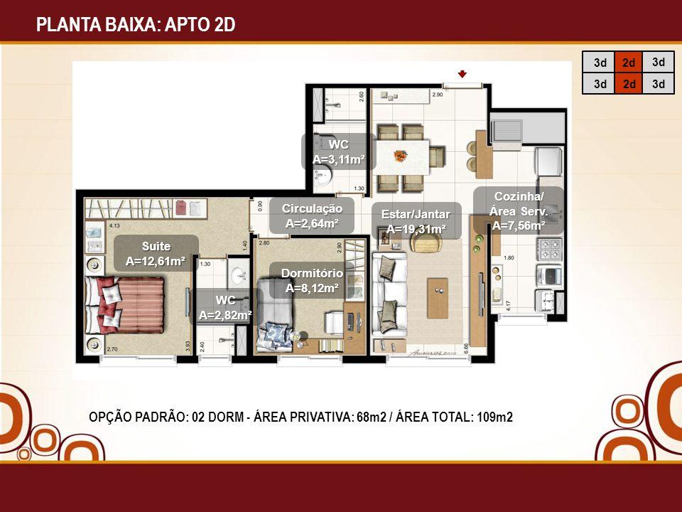 PLANTA BAIXA: APTO 2D 3d. 2d. WC. A=3,11m². Cozinha/ Área Serv. A=7,56m². Circulação. A=2,64m².