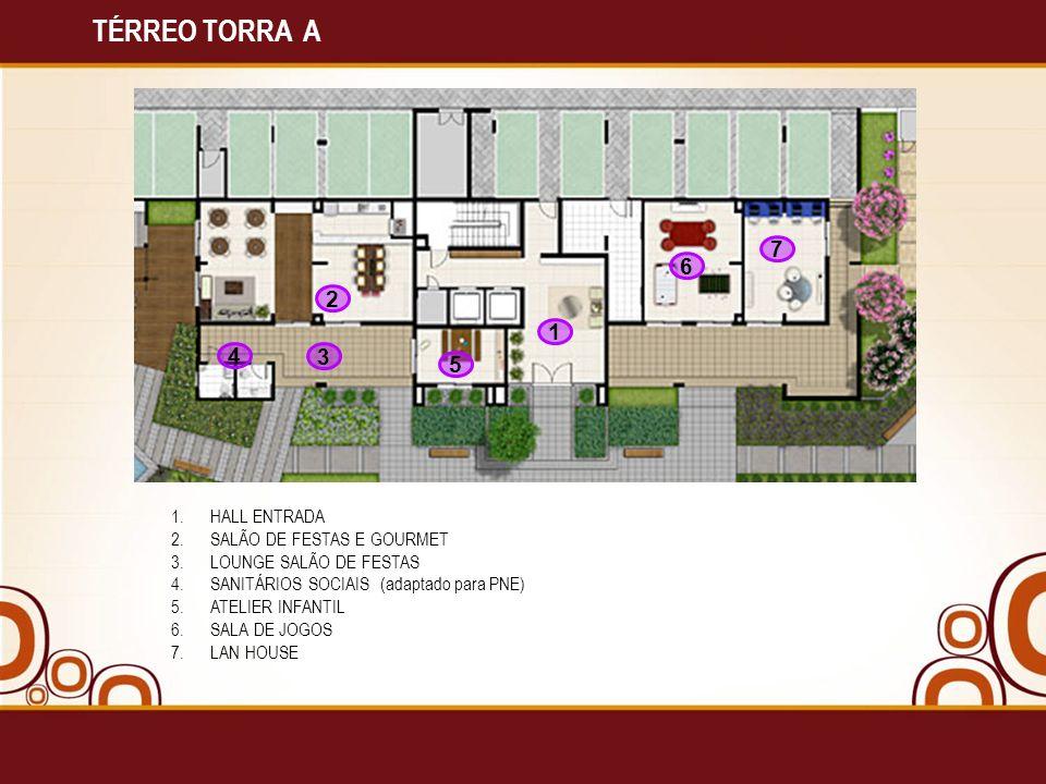TÉRREO TORRA A 7 6 2 1 4 3 5 HALL ENTRADA SALÃO DE FESTAS E GOURMET